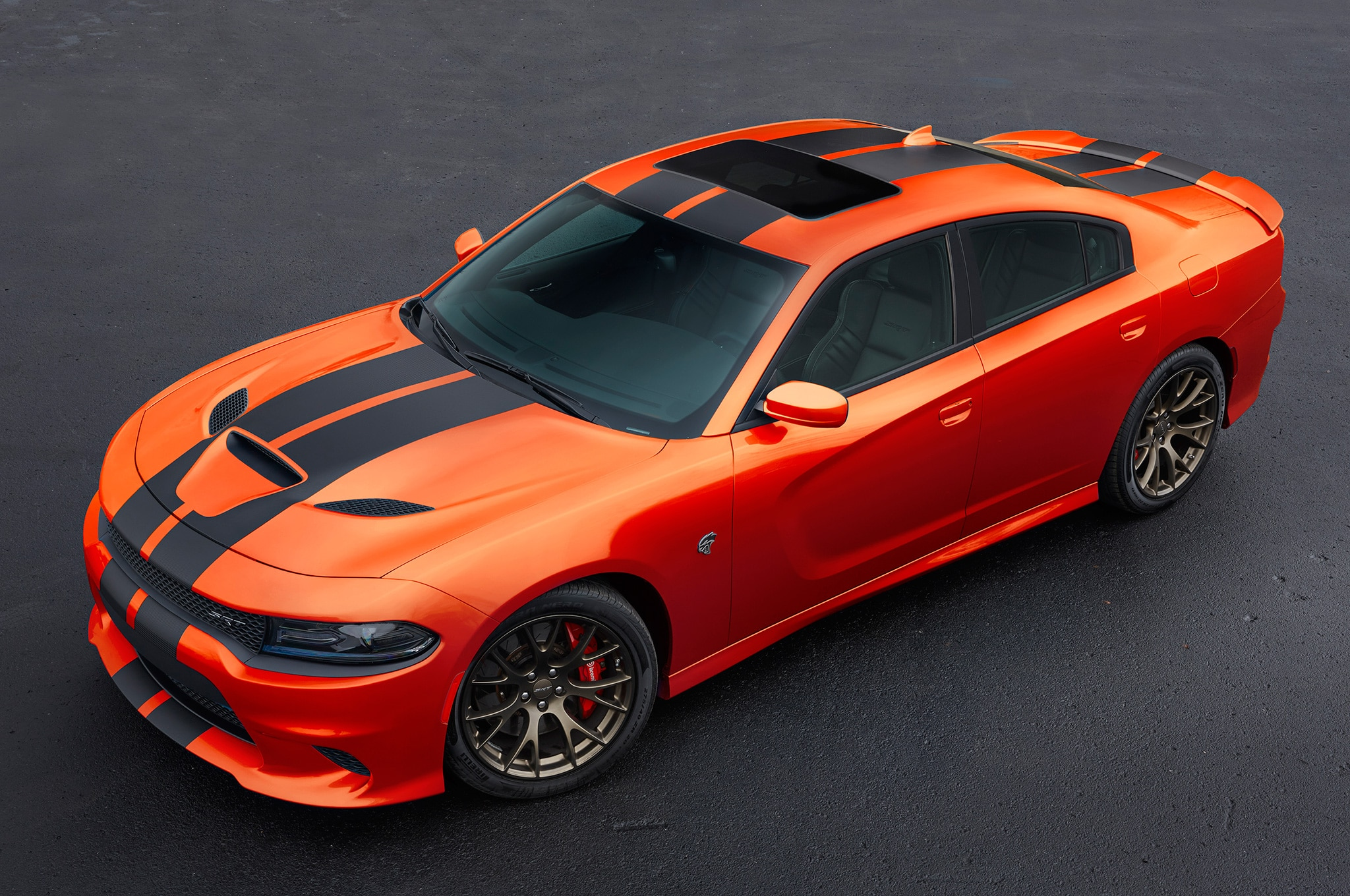 2016-Dodge-Charger-Go-Mango-front-three-
