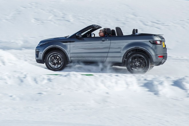 2017 Range Rover Evoque Convertible side profile in motion 05