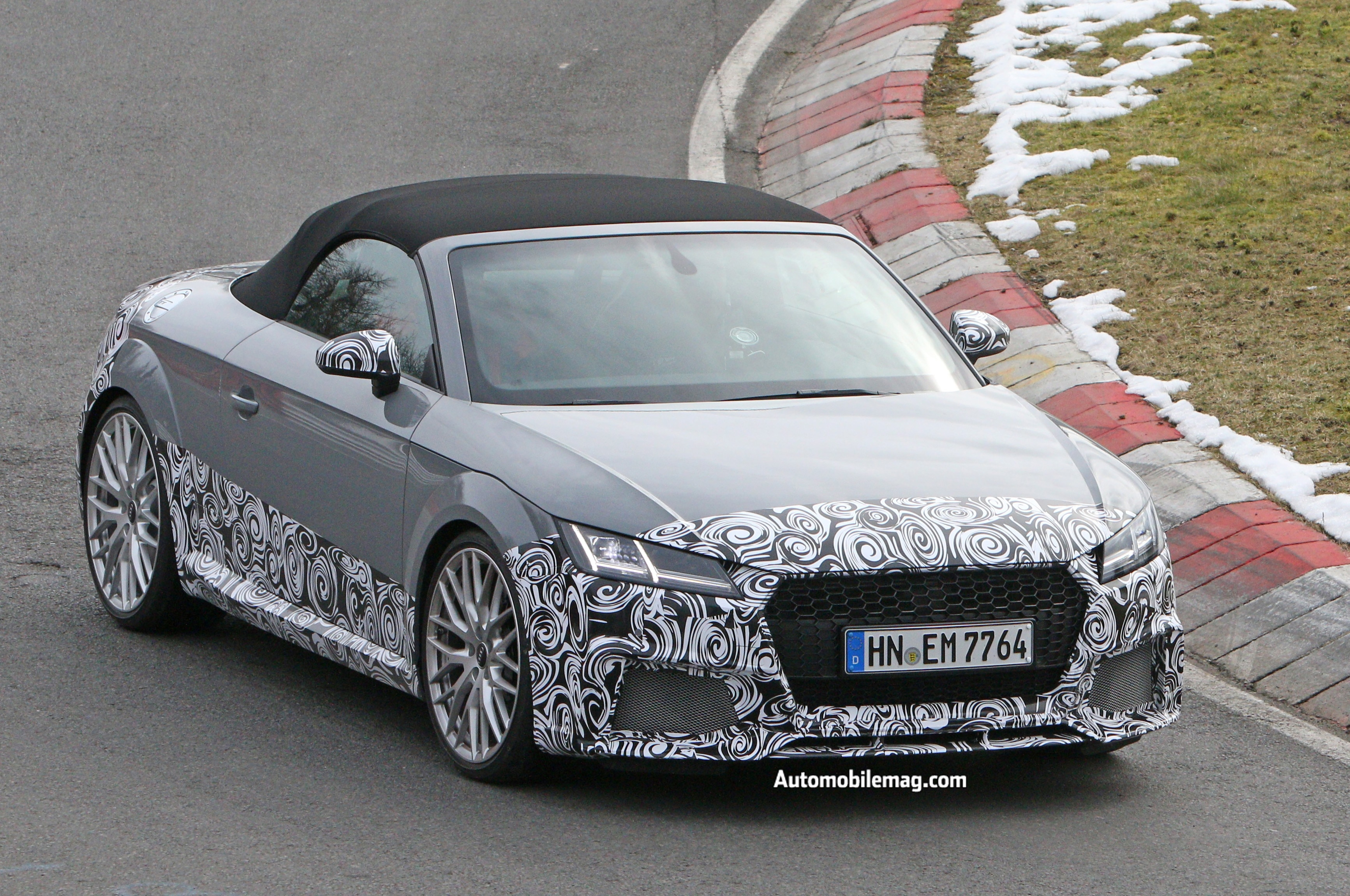 audi tt rs cabriolet spied testing at nurburgring automobile magazine. Black Bedroom Furniture Sets. Home Design Ideas