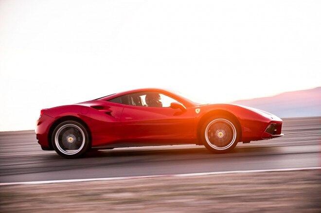 Ferrari 488 GTB side profile in motion 06