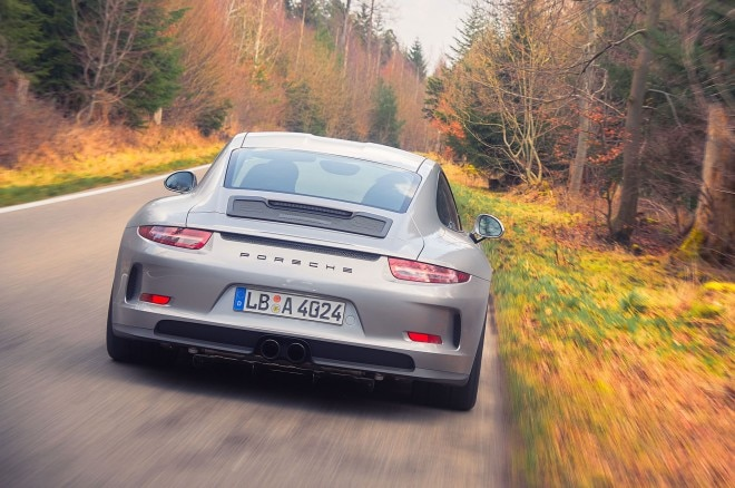 Porsche 911R rear view in motion 10