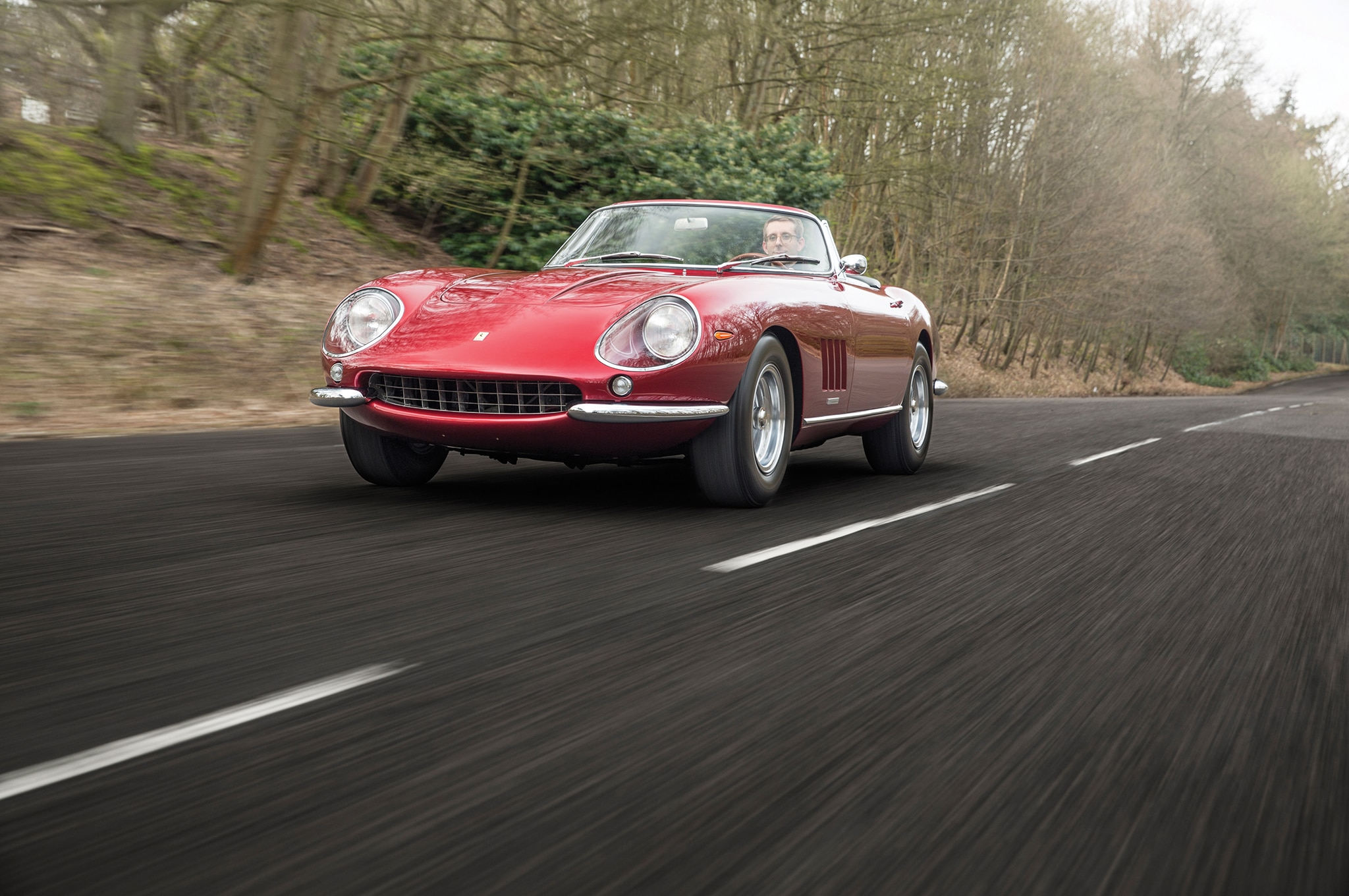 1968 Ferrari 275 GTB4 NART Spider Front In Motion