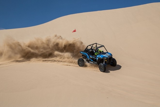 2016 Polaris RZR XP Turbo EPS front three quarter in motion