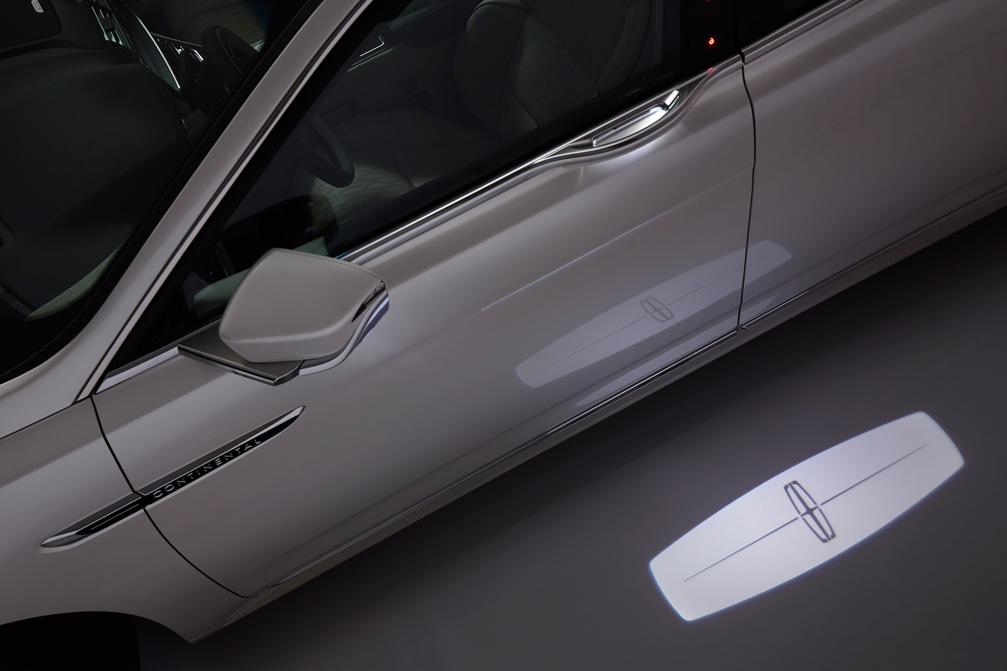 2017 lincoln continental has light up door handles puddle for Door with light