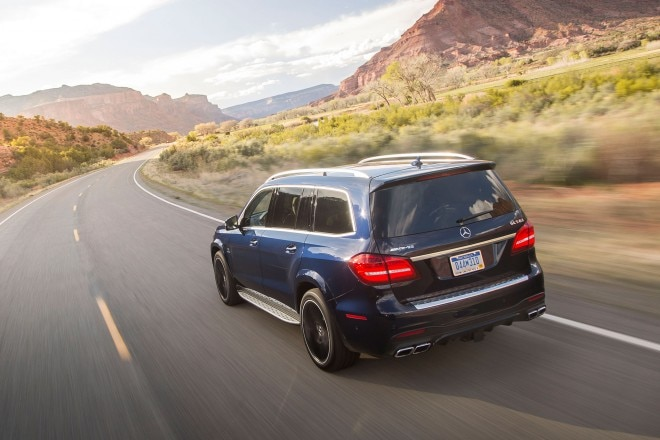 2017 Mercedes AMG GLS63 rear three quarter in motion 01