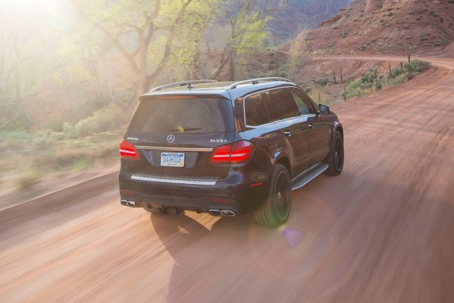 2017 Mercedes AMG GLS63 rear three quarter in motion 03