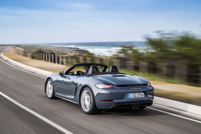 2017 Porsche 718 Boxster rear three quarter in motion 1