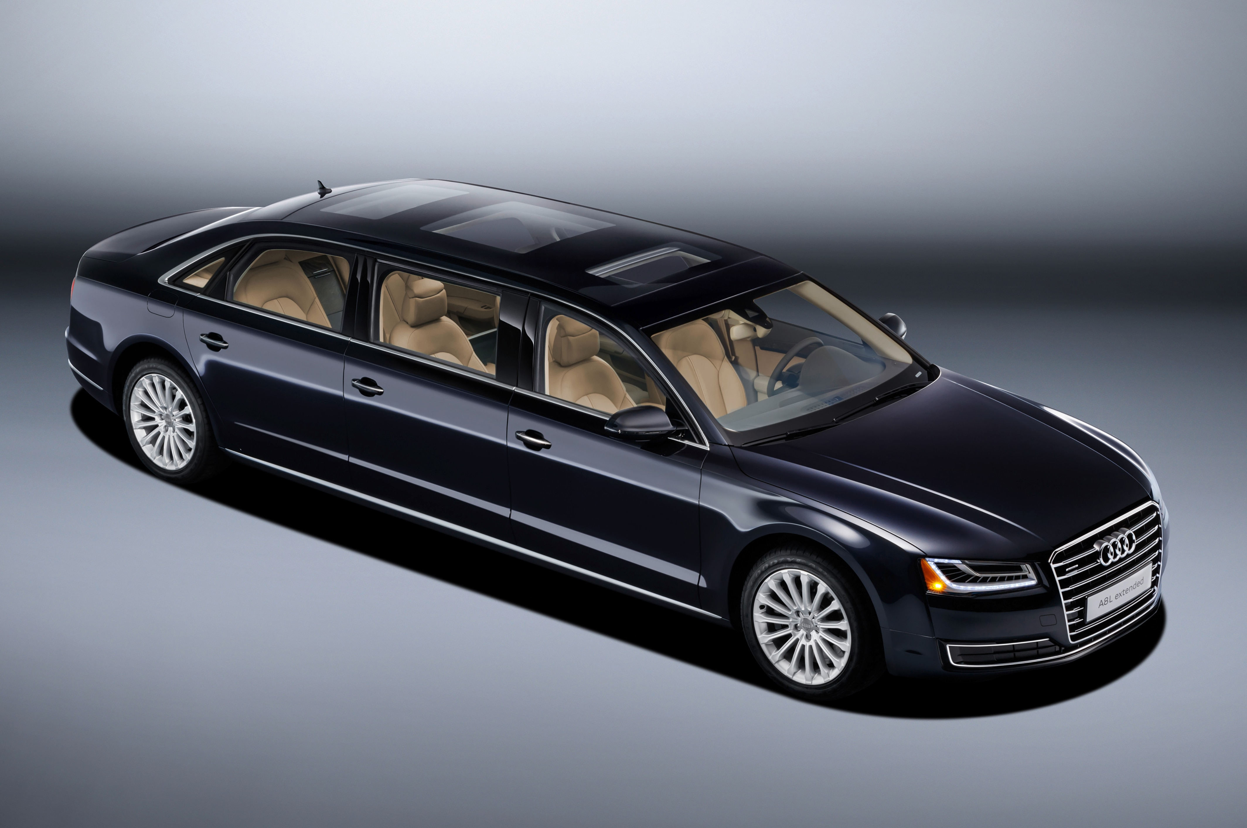 check out this massive one off audi a8 l extended limousine. Black Bedroom Furniture Sets. Home Design Ideas
