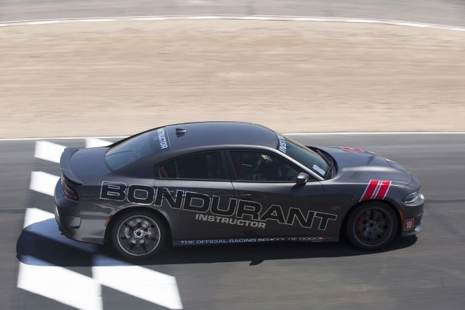 Dodge Charger SRT Hellcat at Bondurant School top view in motion