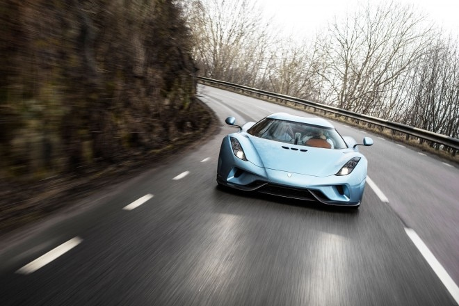 Koenigsegg Regera prototype front view in motion 03
