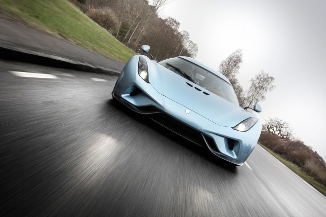 Koenigsegg Regera prototype front view in motion 04