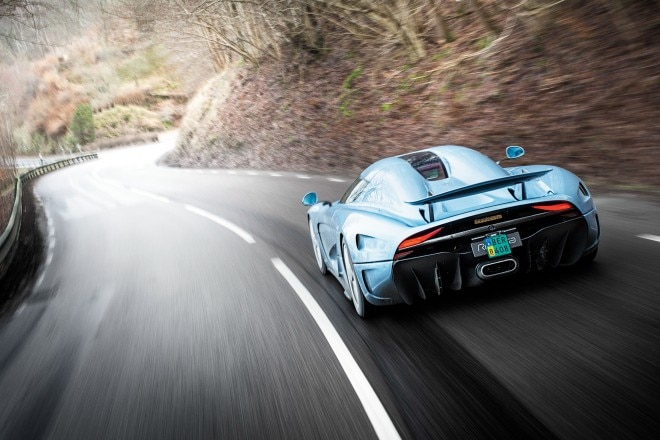 Koenigsegg Regera prototype rear three quarter in motion 01