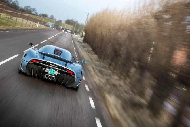 Koenigsegg Regera prototype rear view in motion 02
