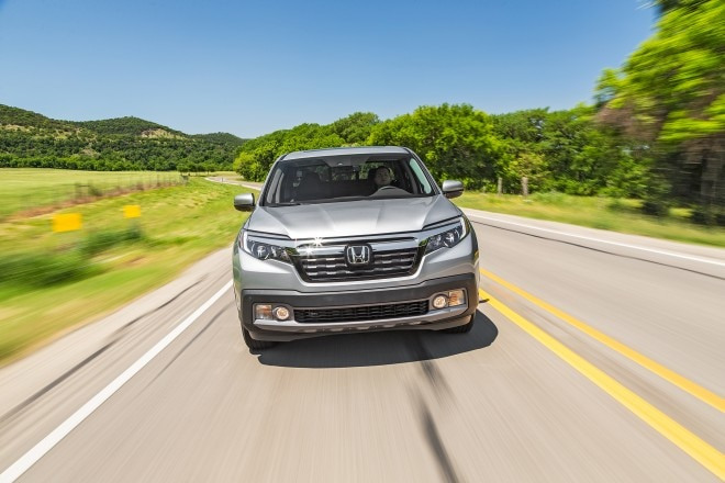 2017 Honda Ridgeline front view in motion