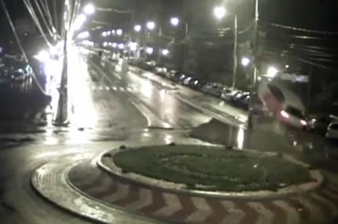Watch A Car Jump A Romanian Roundabout