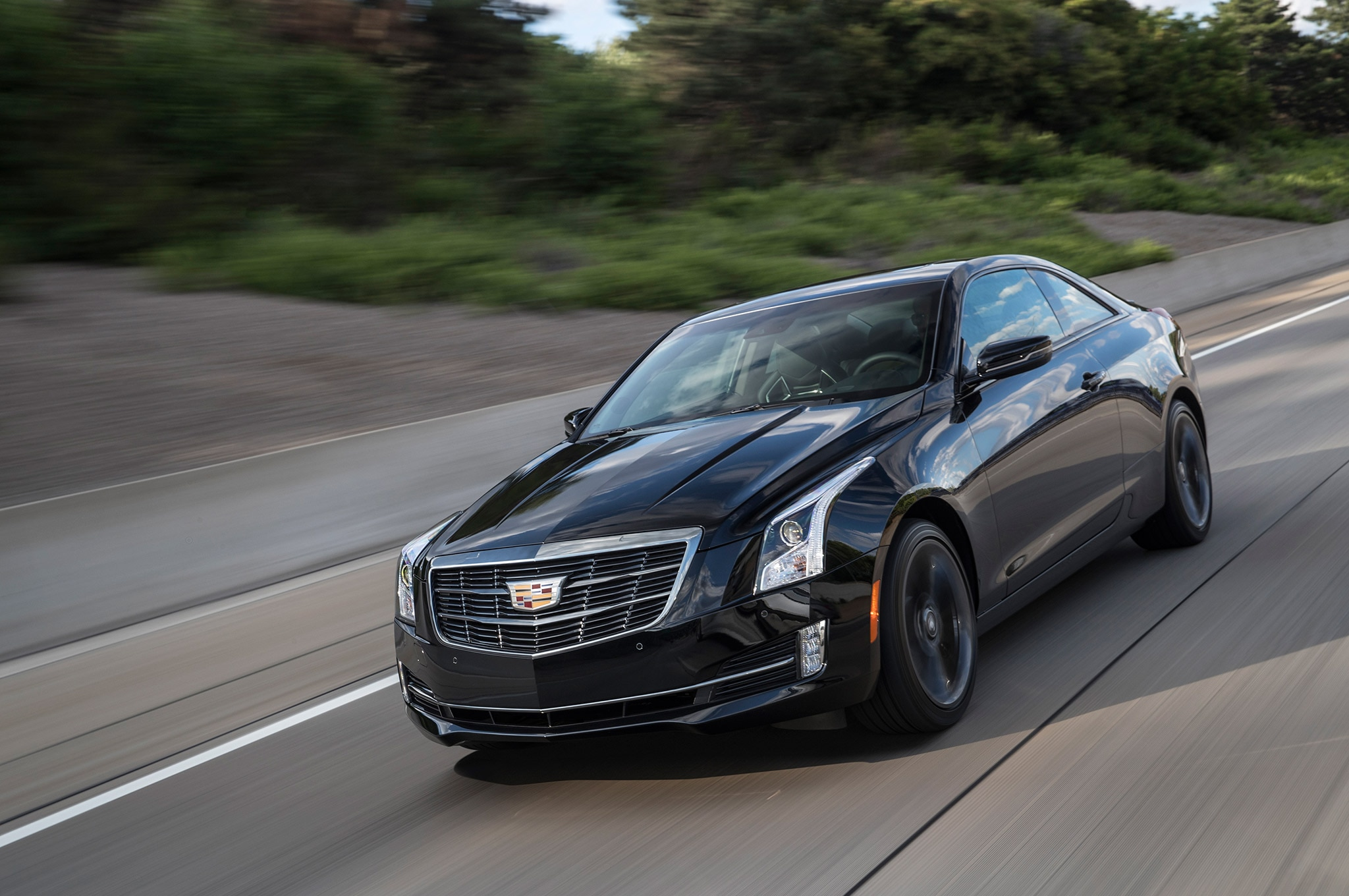 2017 Cadillac ATS Coupe Front Three Quarters In Motion 1