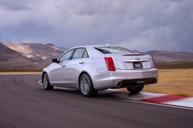 2017 Cadillac CTS rear three quarters in motion 1