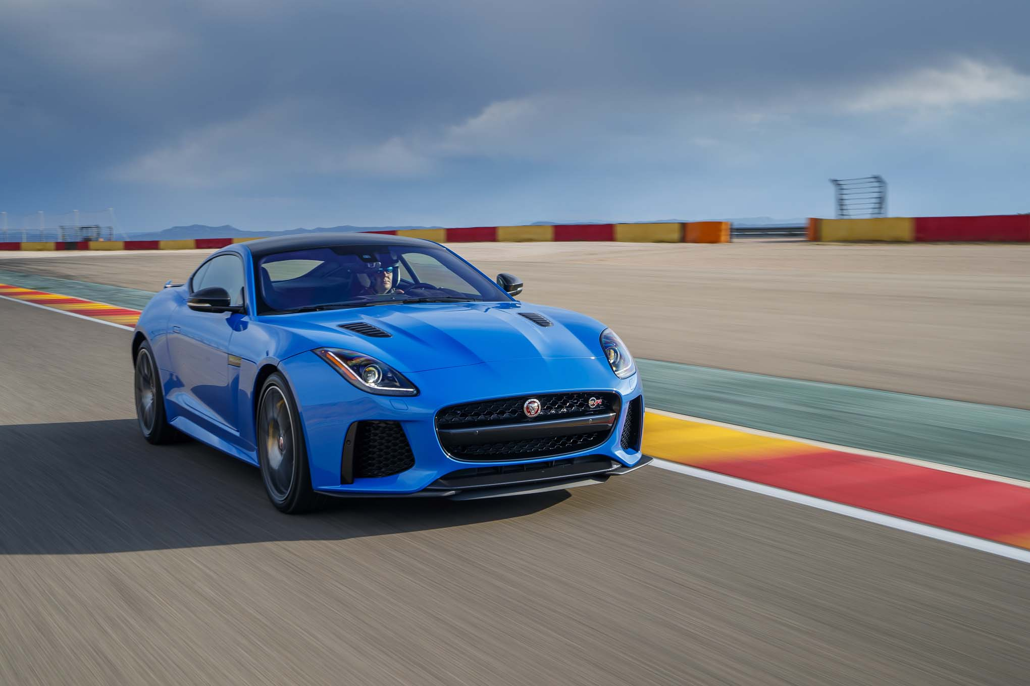 2017 Jaguar F Type SVR Coupe Front Three Quarter In Motion 04 3