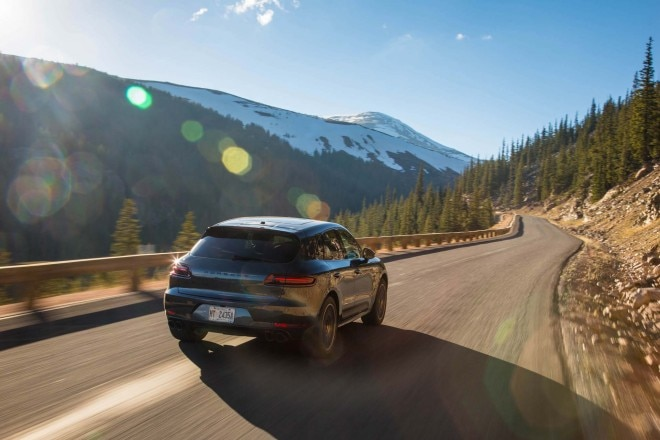2017 Porsche Macan GTS rear three quarter in motion 04