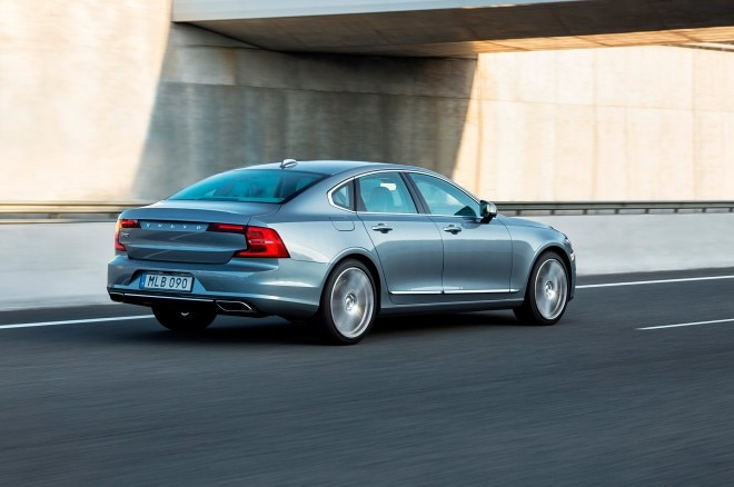 2017 Volvo S90 rear three quarter in motion