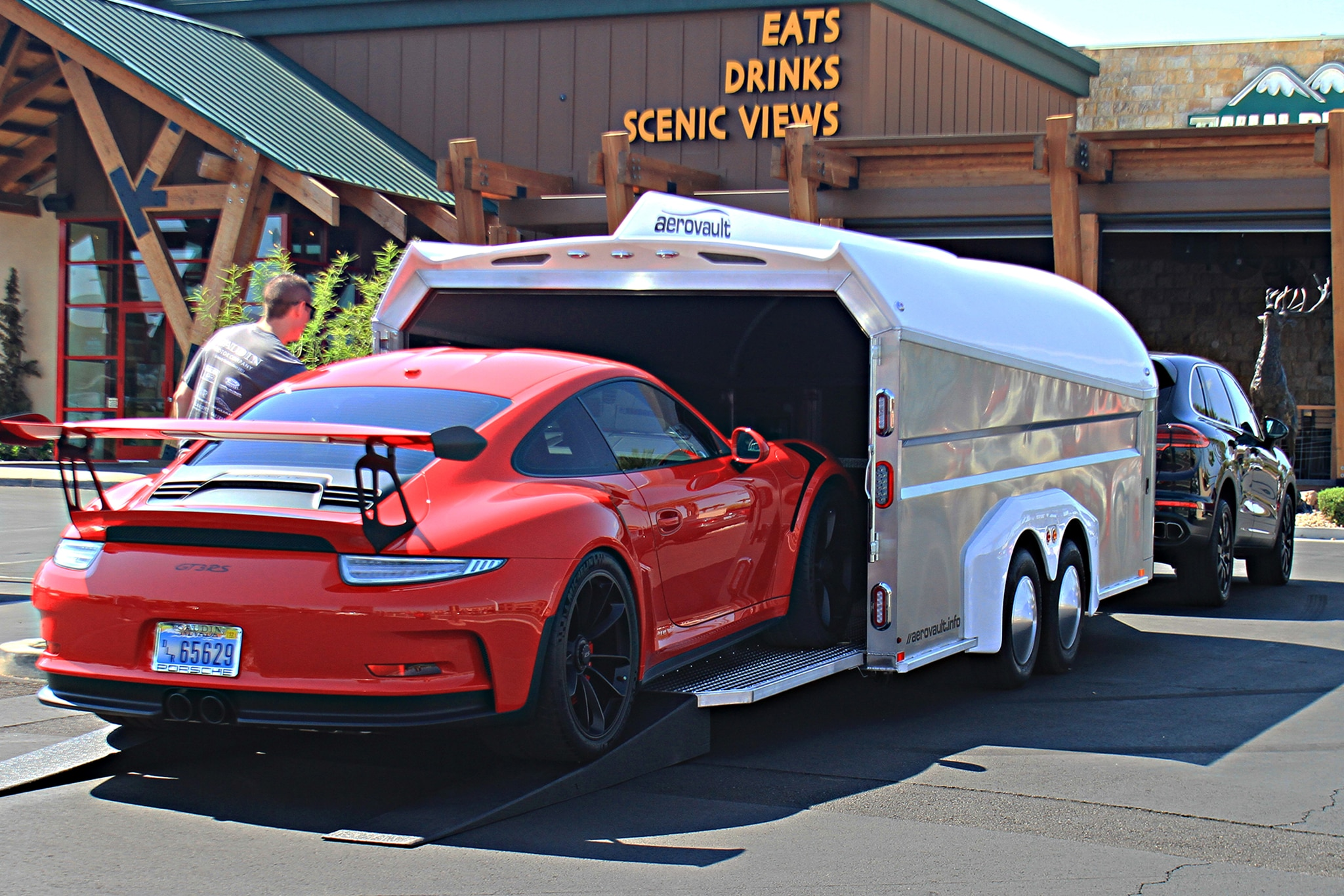 GT3RS Being Winched Into Aerovault With Remote Control