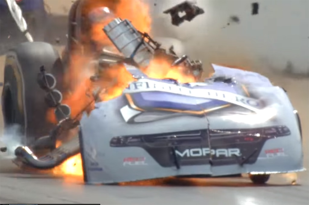 Watch An NHRA Funny Car Engine Explode During A Drag Race