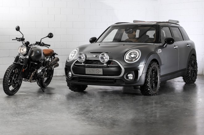 Mini Clubman ALL4 Scrambler concept front view with bike