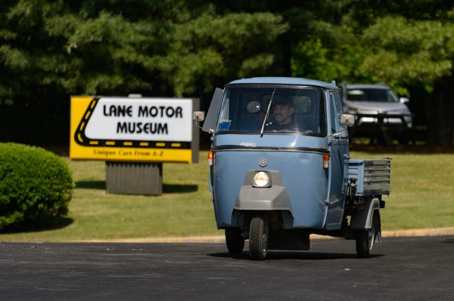 1977 Piaggio VespaCar P501 Lane Motor Museum in motion 2