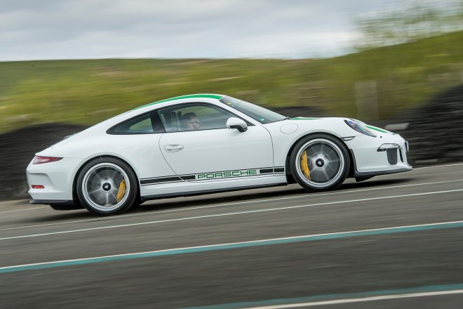 2016 Porsche 911 R side profile in motion 02