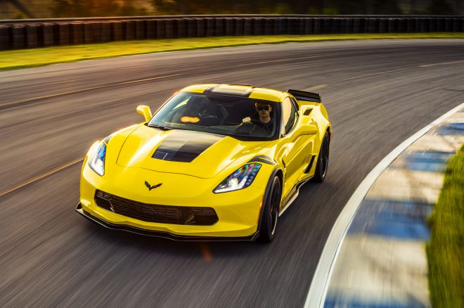 2017 Chevrolet Corvette Grand Sport front three quarters in motion