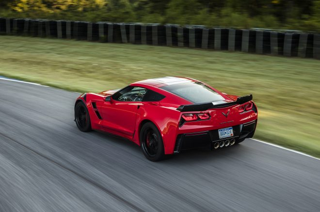 2017 Chevrolet Corvette Grand Sport rear three quarters in motion