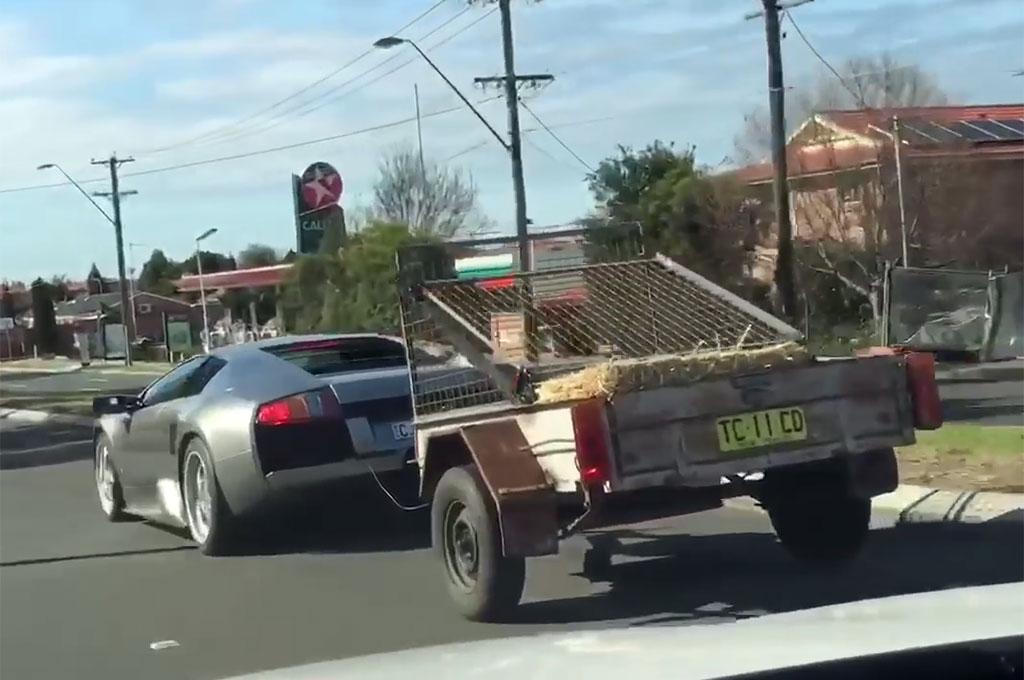 Lamborghini Murcielago Towing Goats Rear View