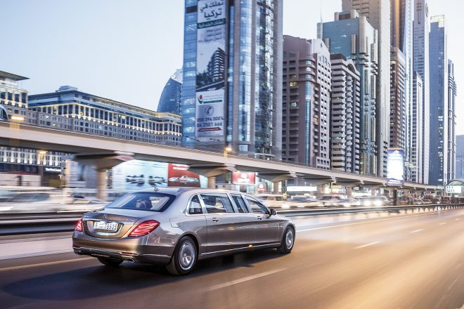 2016 Mercedes Maybach S600 Pullman rear three quarter in motion 01