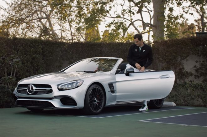 Mercedes benz teams up with roger federer for hilarious for Mercedes benz new advert
