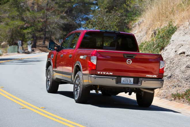 2017 Nissan Titan rear three quarter in motion