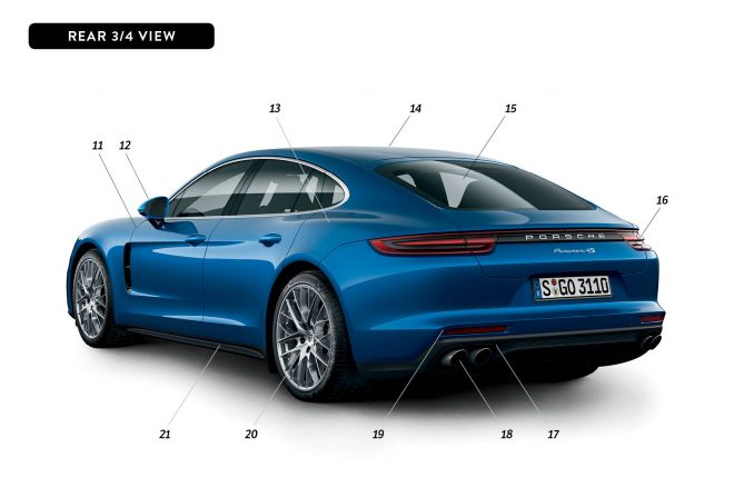 By Design 2017 Porsche Panamera rear three quarter
