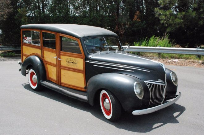 1939 Ford Deluxe Woodie Station Wagon Bring A Trailer Front Three Quarters 660x438