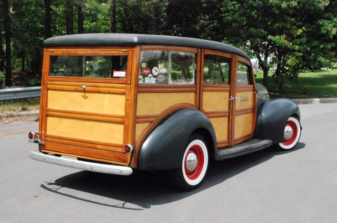 1939 Ford Deluxe Woodie Station Wagon Bring a Trailer rear three quarters