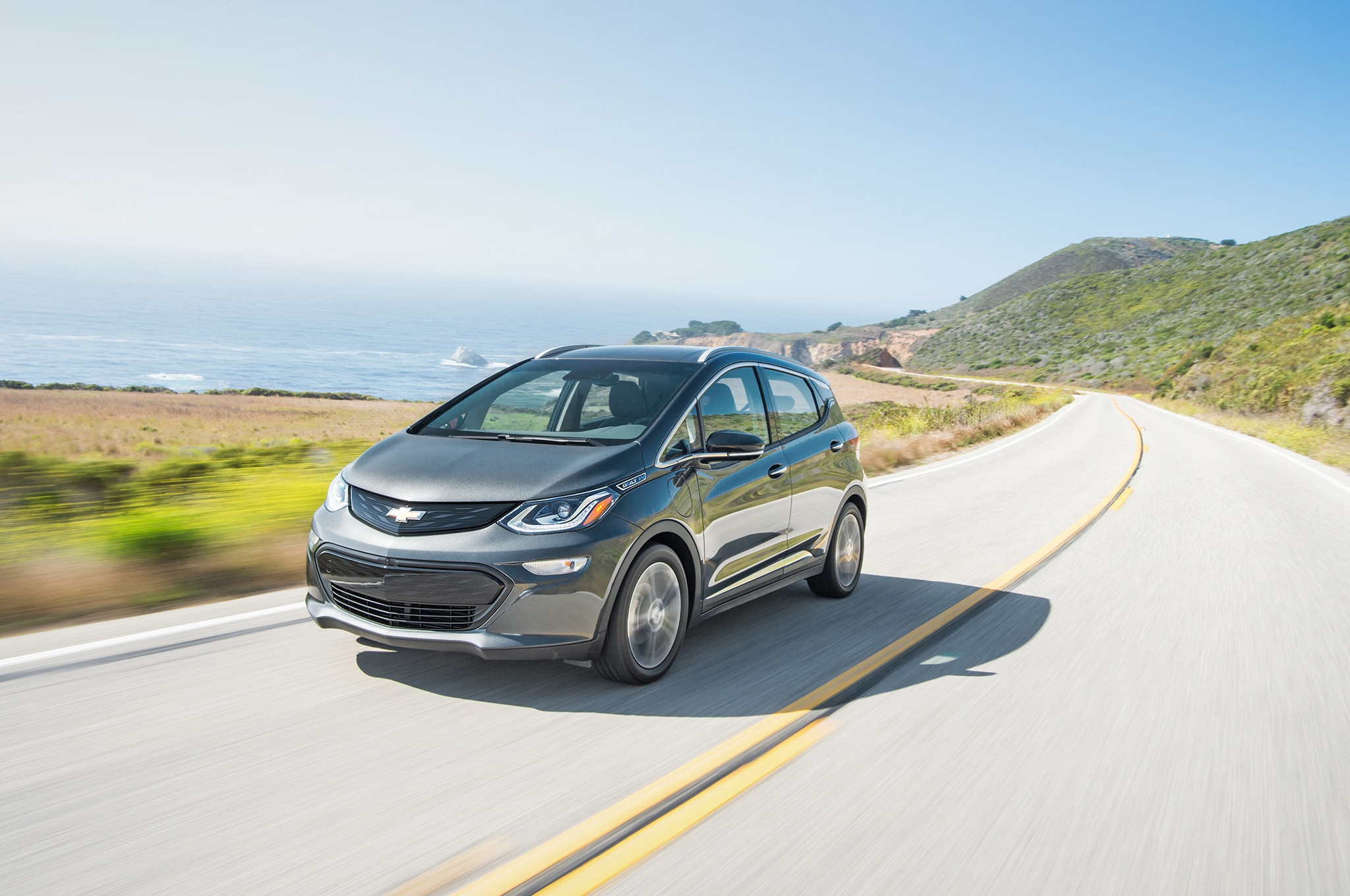 2017 Chevrolet Bolt EV Front Three Quarter In Motion 02