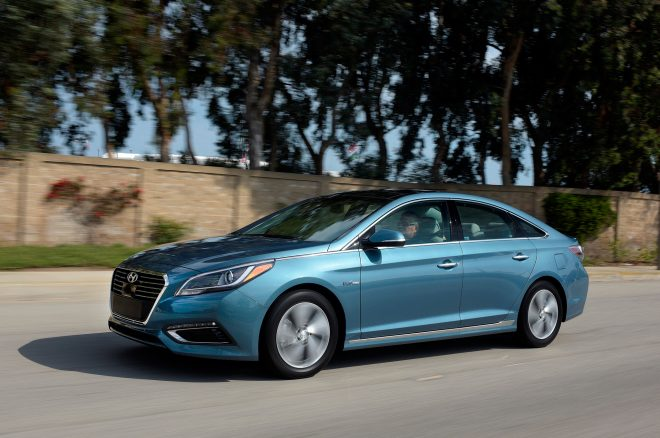 2017 Hyundai Sonata Plug In Hybrid front three quarter in motion 02