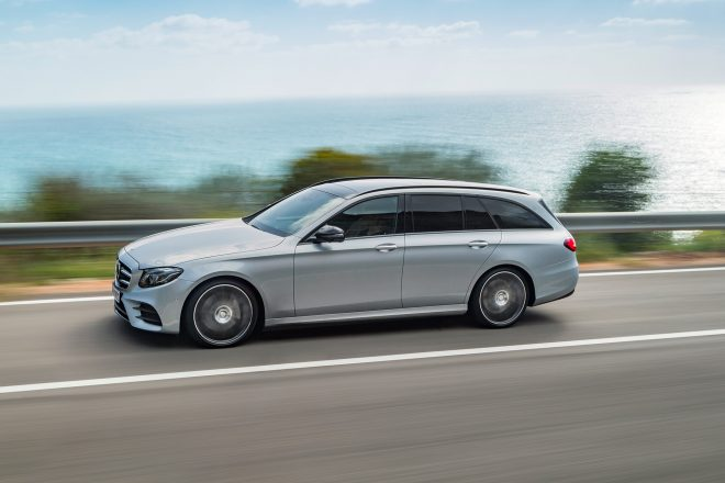 2017 Mercedes Benz E400 4Matic wagon side profile in motion