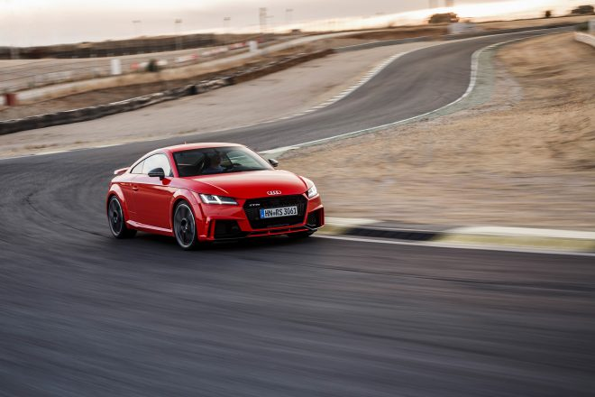2018 Audi TT RS Coupe front three quarter in motion 12