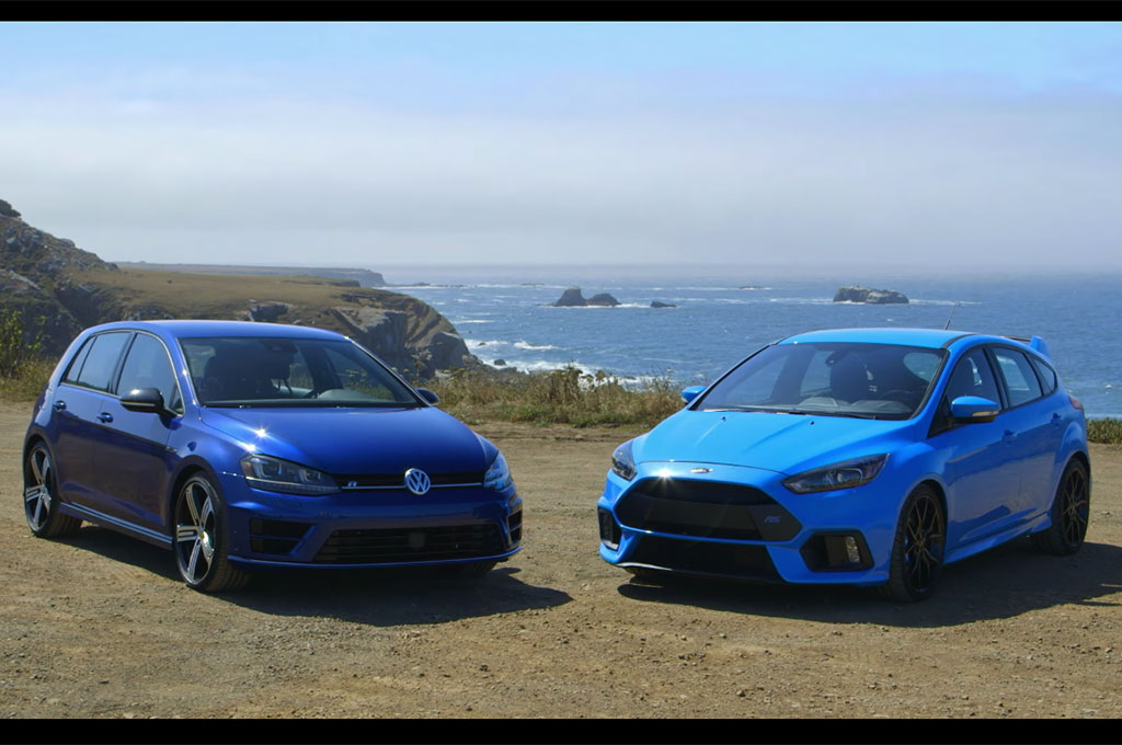 ford focus rs battles volkswagen golf r in new head 2 head. Black Bedroom Furniture Sets. Home Design Ideas
