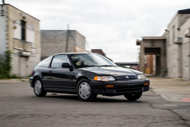 1988 Honda CRX Si front three quarter in motion 09