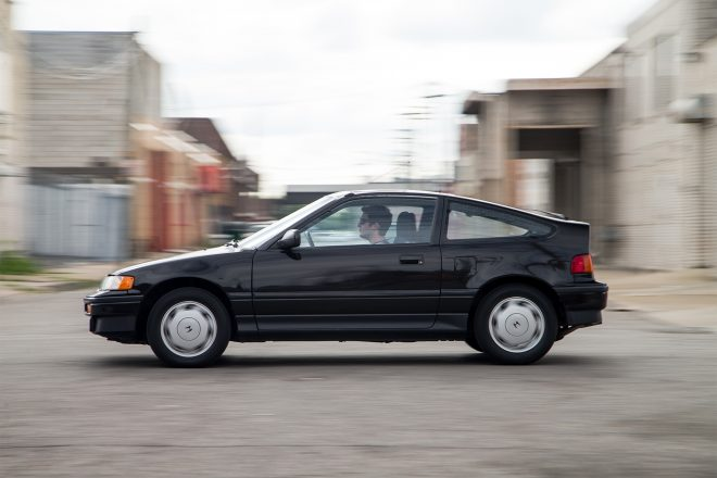 1988 Honda CRX Si side profile in motion 01