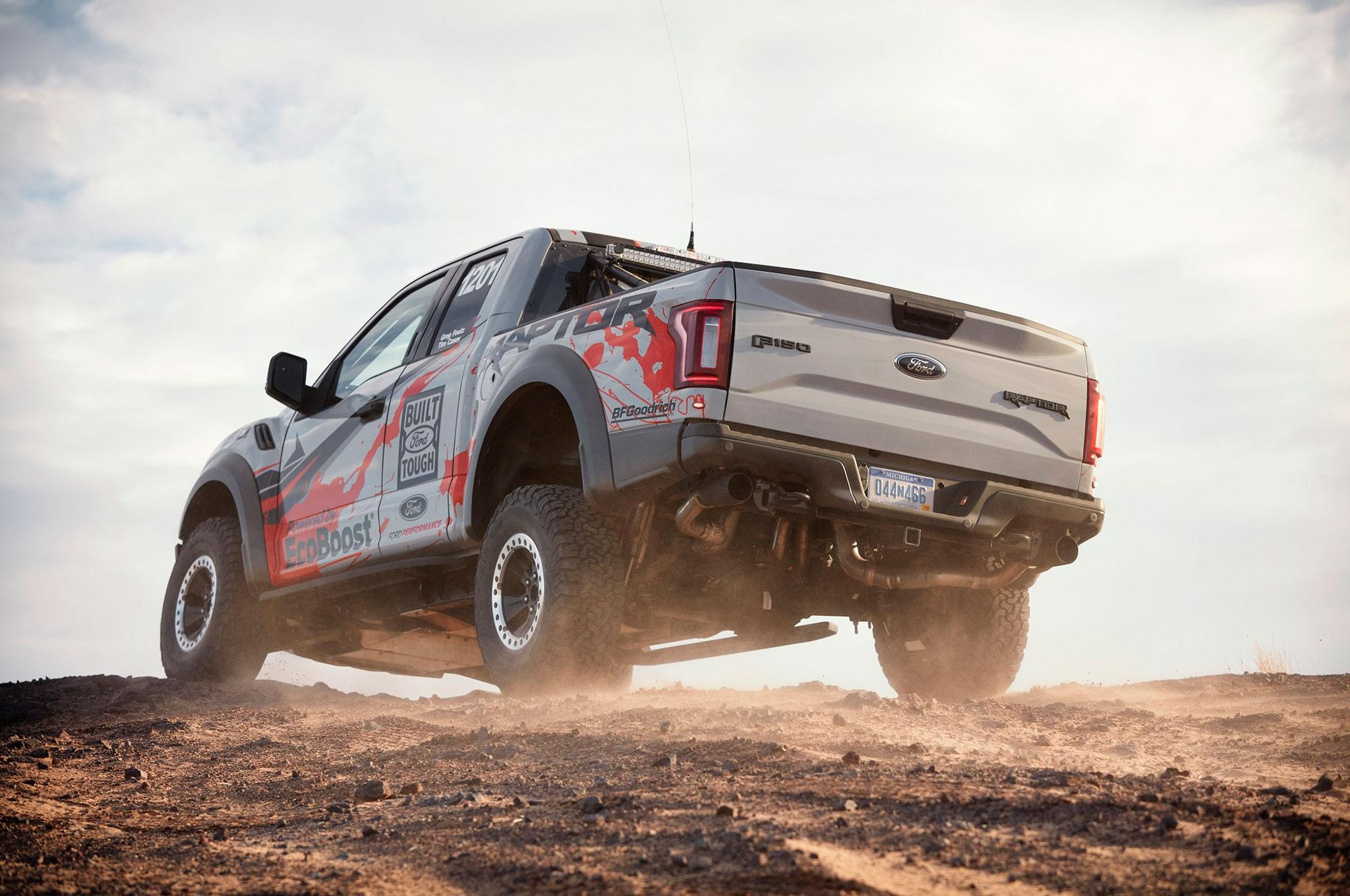 2017 Ford F 150 Raptor Baja race truck rear three quarter