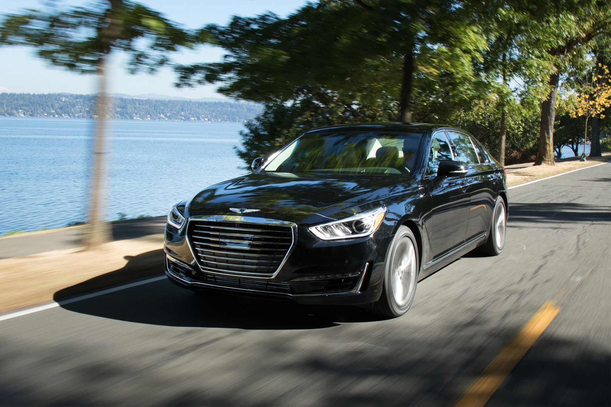 2017 Genesis G90 Front Three Quarter In Motion 12