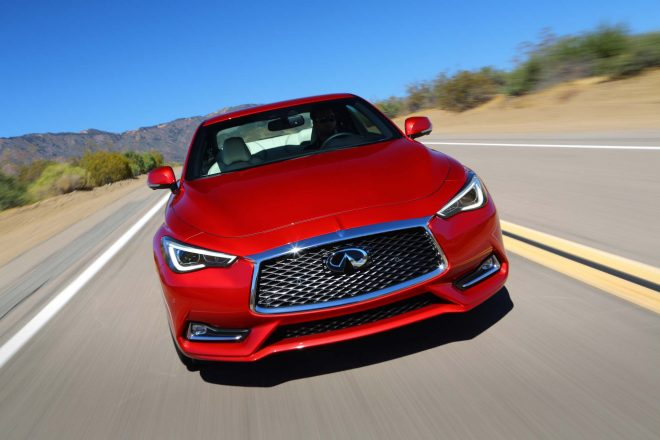 2017 Infiniti Q60 Red Sport 400 front end in motion 05