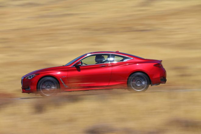 2017 Infiniti Q60 Red Sport 400 side in motion 05