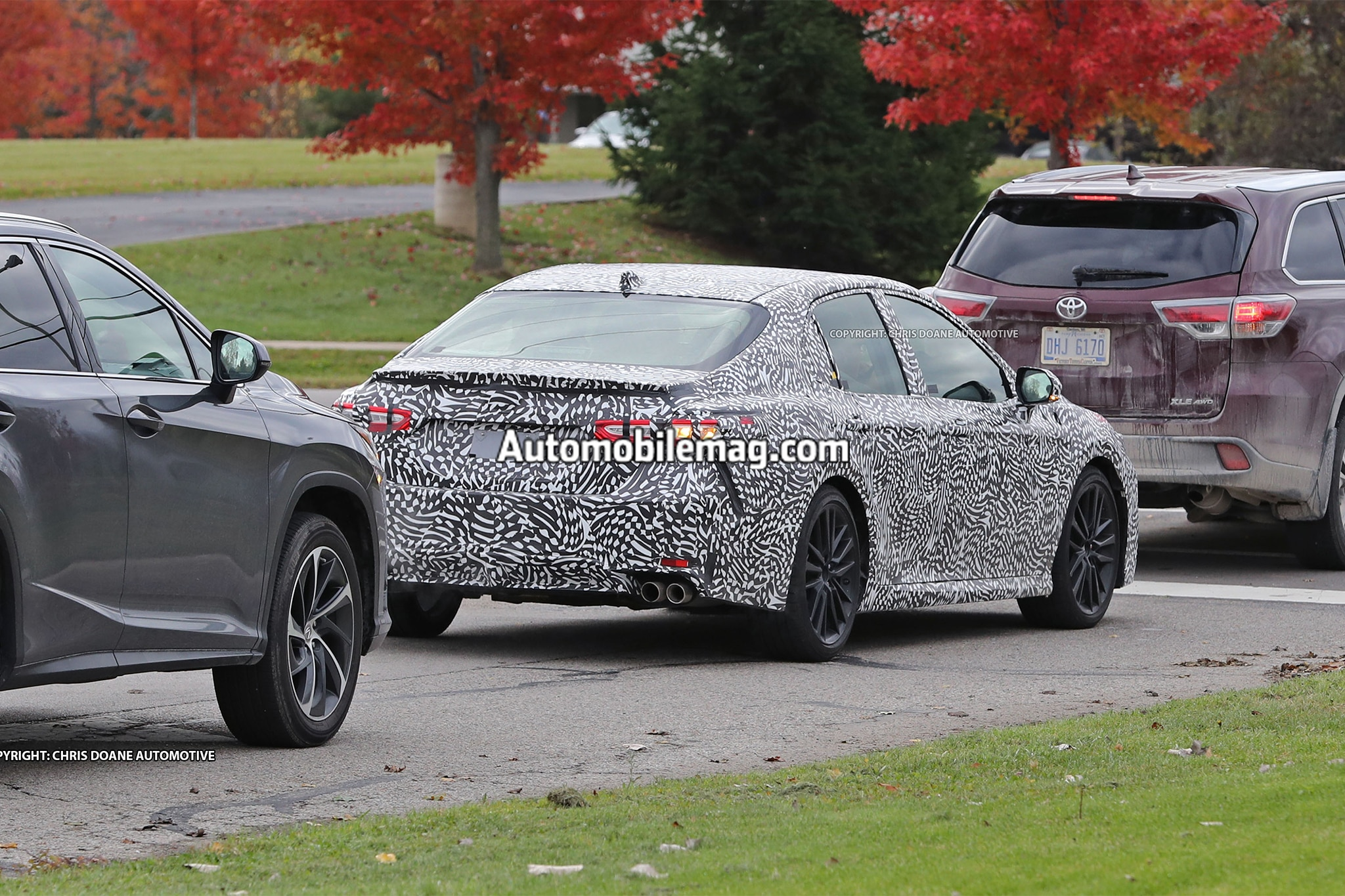2018 toyota camry prototype caught sporting four exhaust. Black Bedroom Furniture Sets. Home Design Ideas